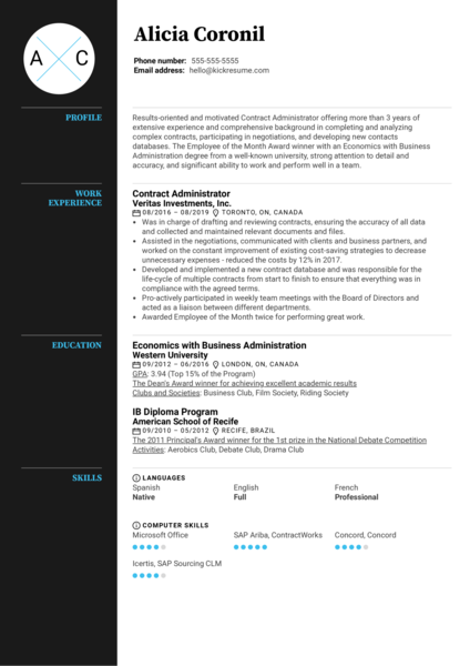 Contract Administrator Resume Example