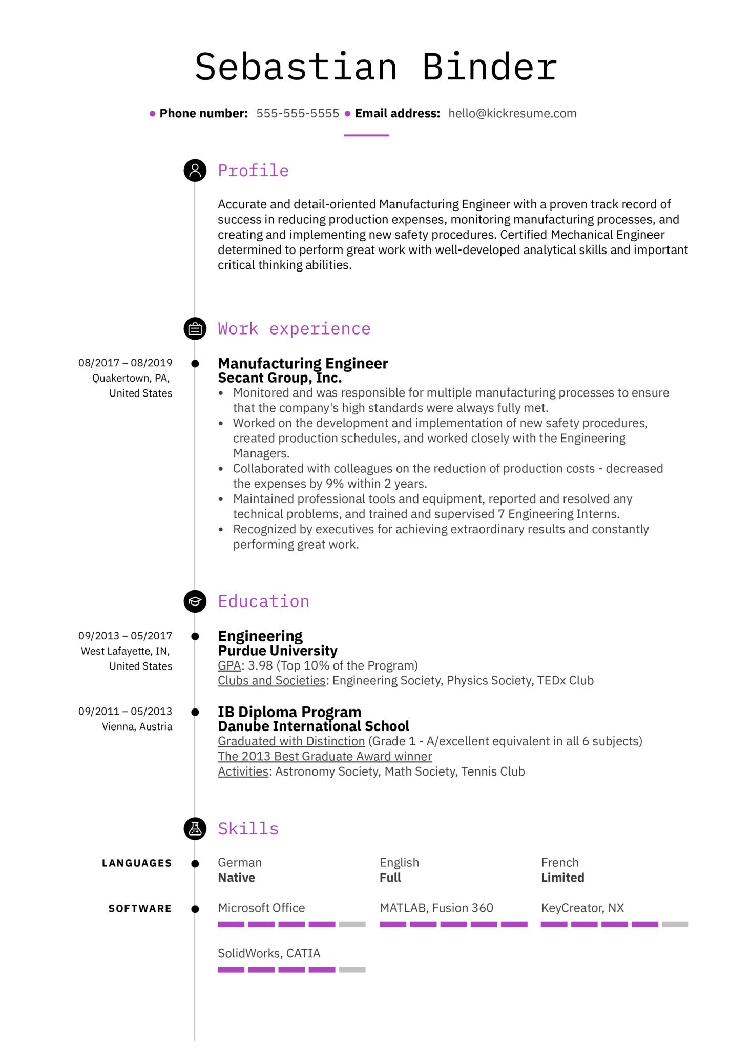 Manufacturing Engineer Resume Example (časť 1)