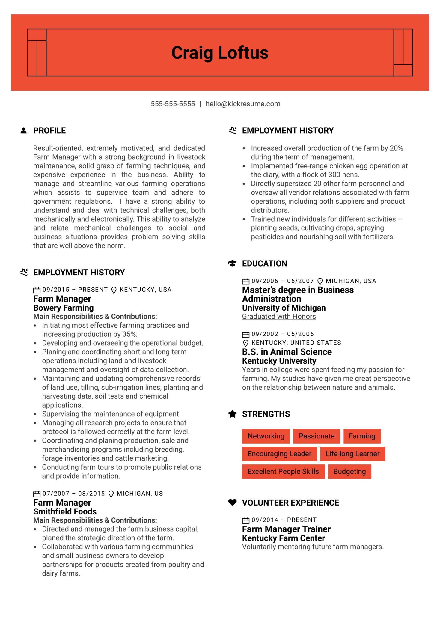 Farm Manager Resume Example (časť 1)