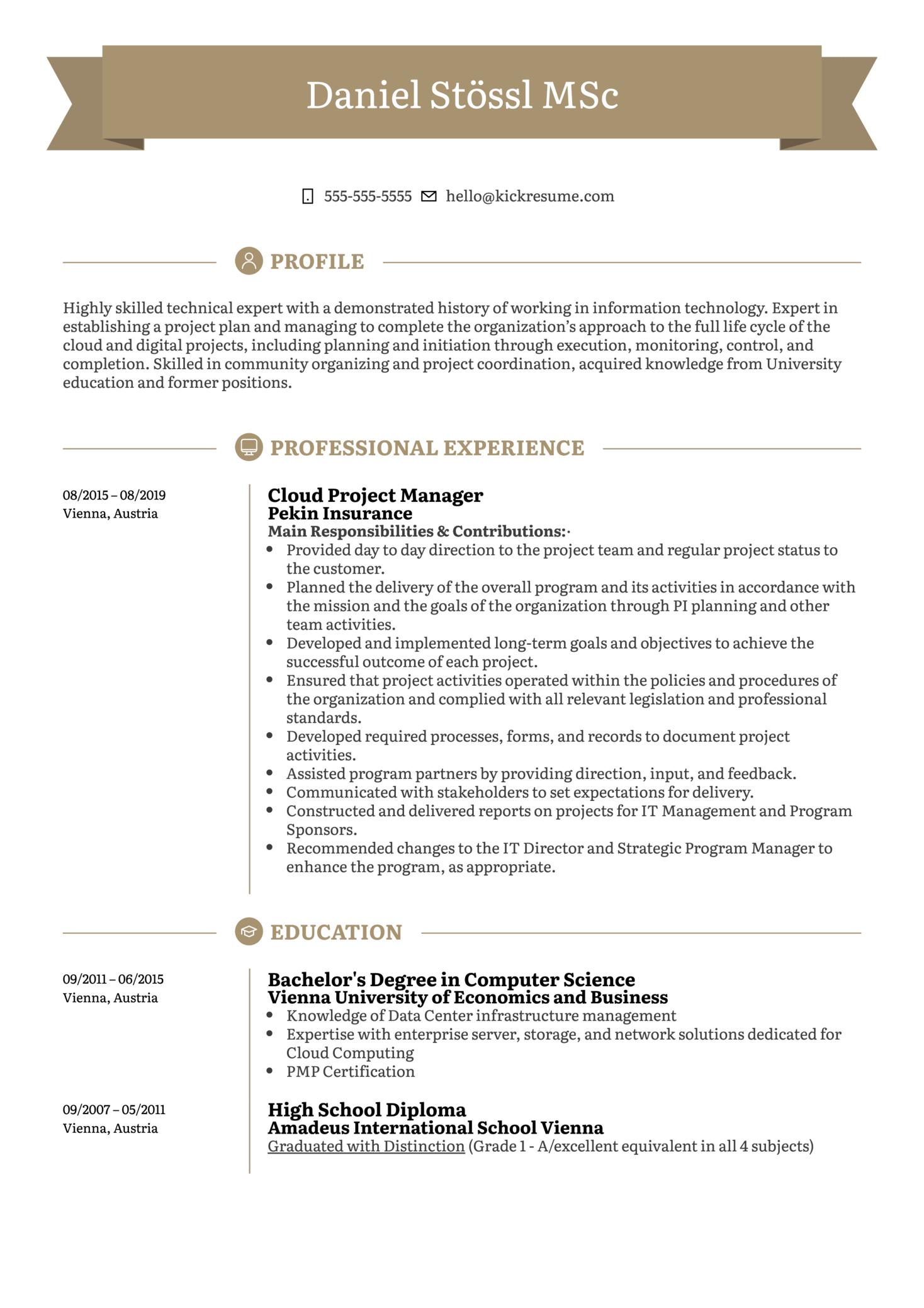 Cloud Project Manager Resume Sample (časť 1)