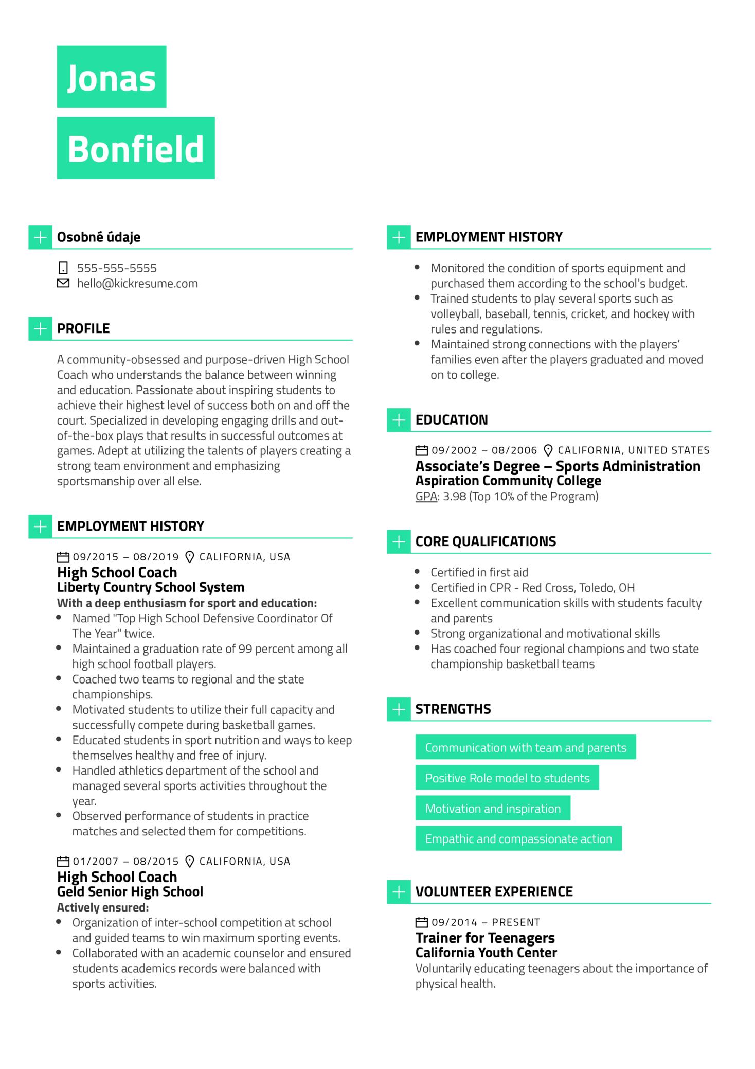 High School Coach Resume Example (Parte 1)