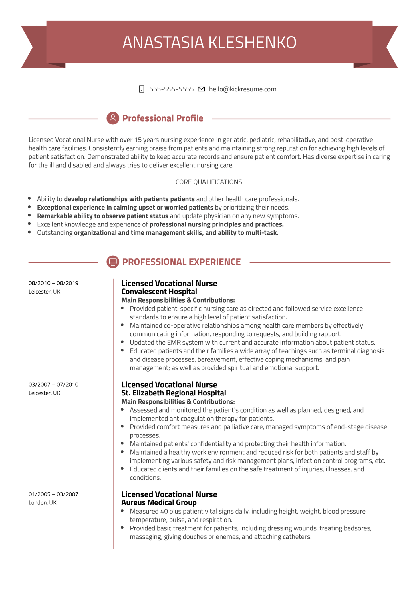 Licensed Vocational Nurse Resume Template (časť 1)
