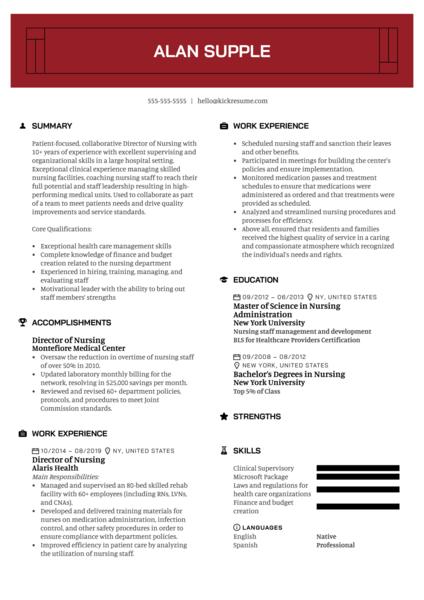 Director of Nursing Resume Example