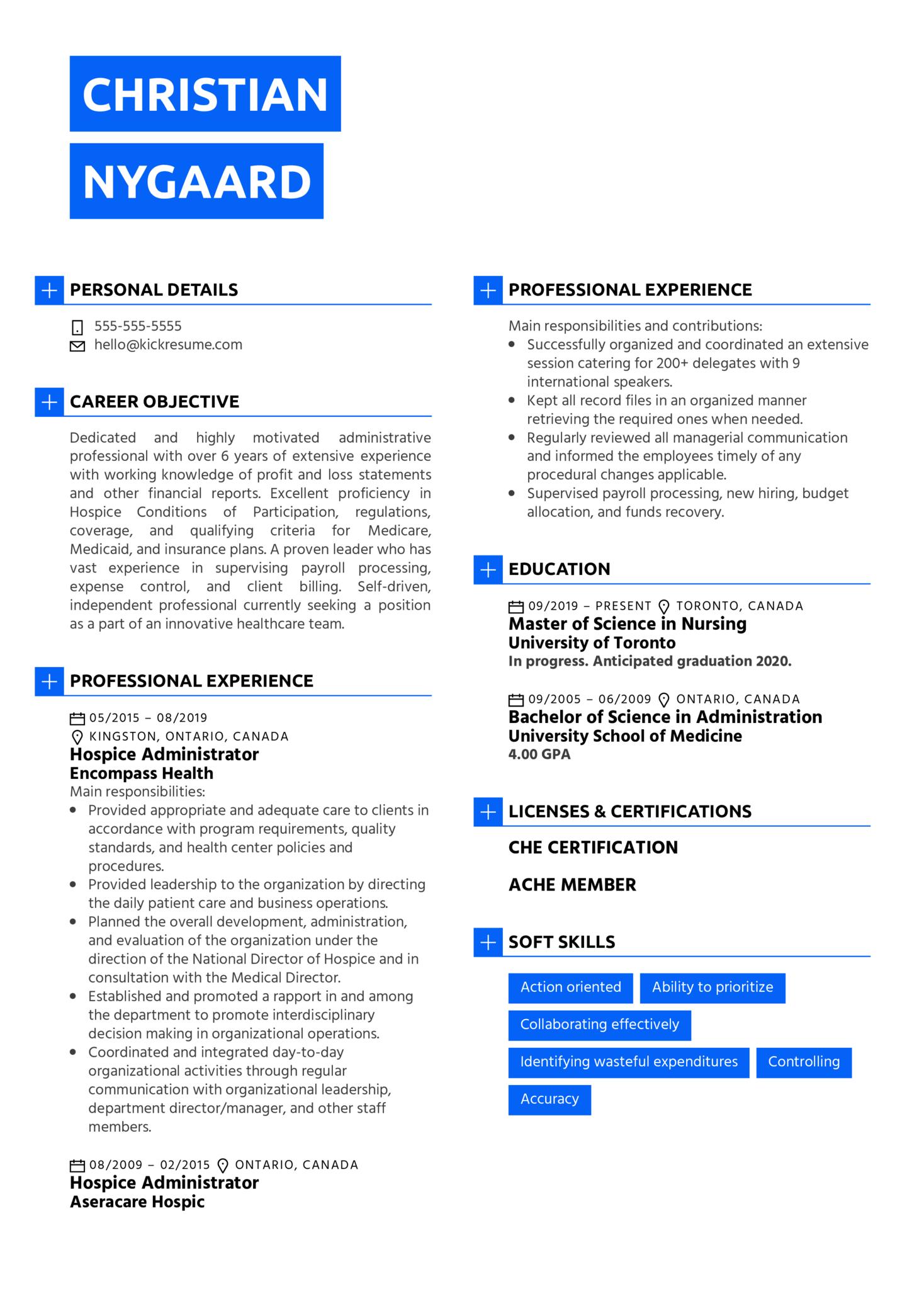 Hospice Administrator Resume Sample (časť 1)