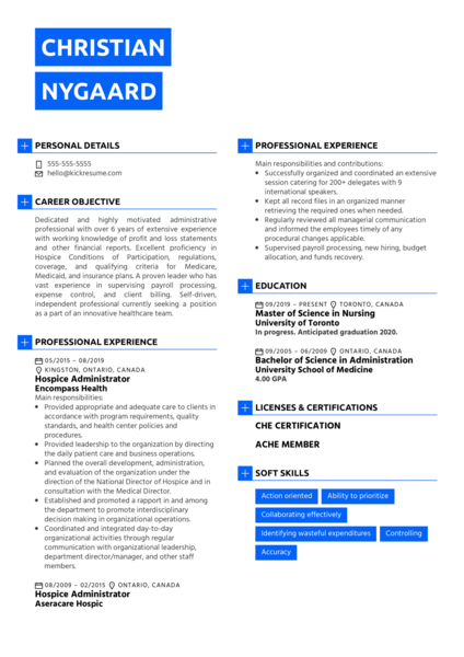 Hospice Administrator Resume Sample