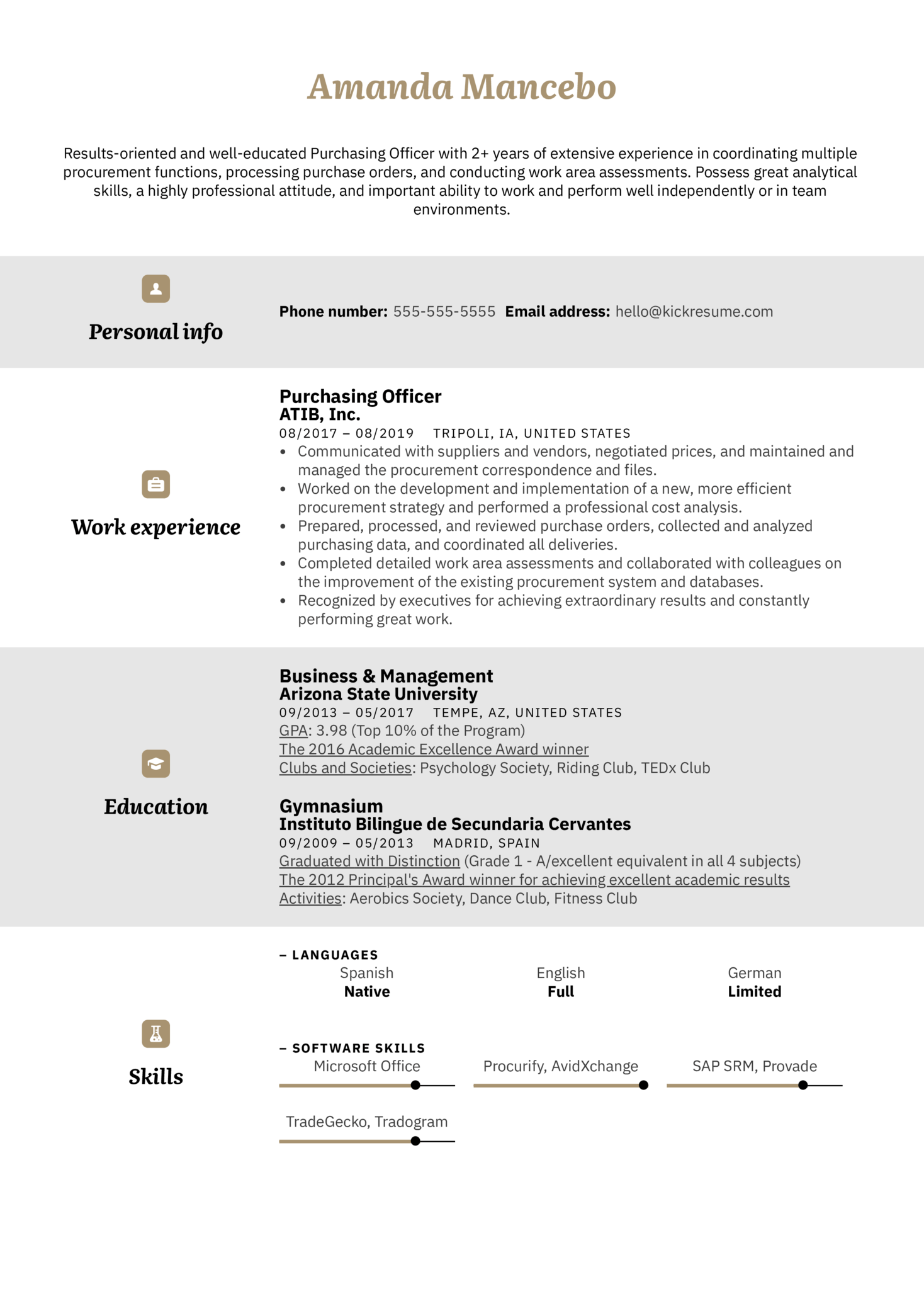 Purchasing Officer Resume Example (Part 1)