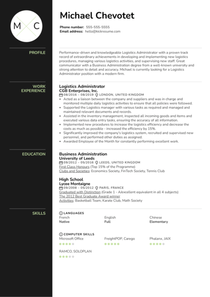 Logistics Administrator Resume Sample