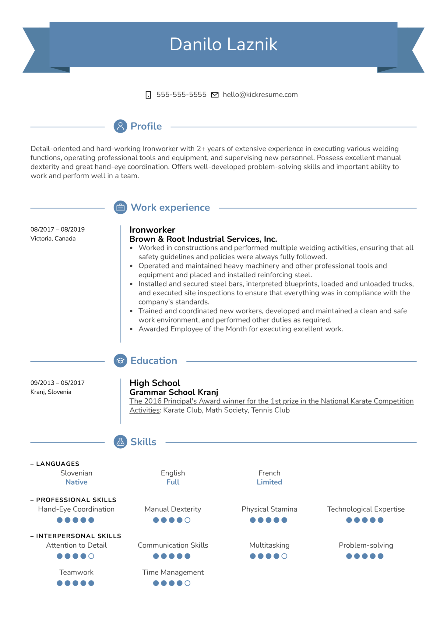 Ironworker Resume Template (Part 1)