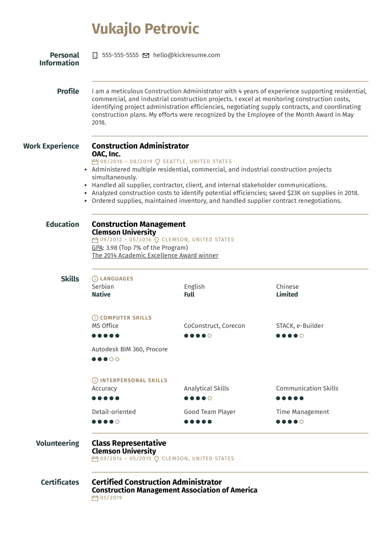Construction Project Manager Resume Sample