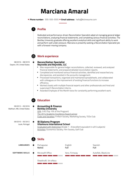 Reconciliation Specialist Resume Sample