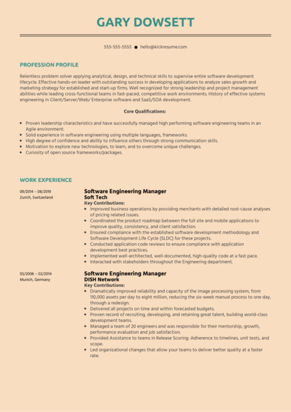 Software Engineering Manager Resume Sample