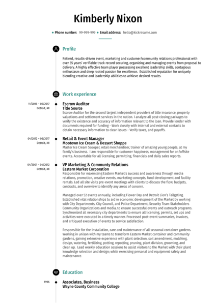 Escrow Auditor Resume Example