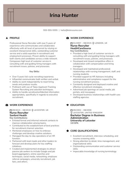 Nurse Recruiter Resume Example