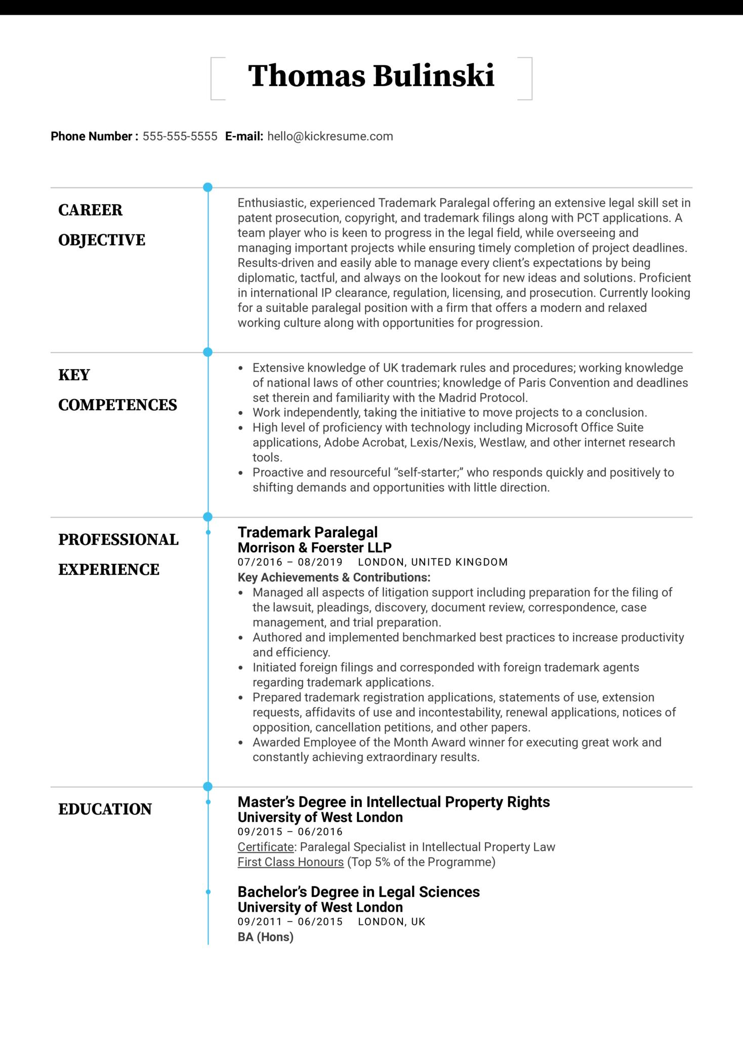 Trademark Paralegal Resume Sample (Teil 1)