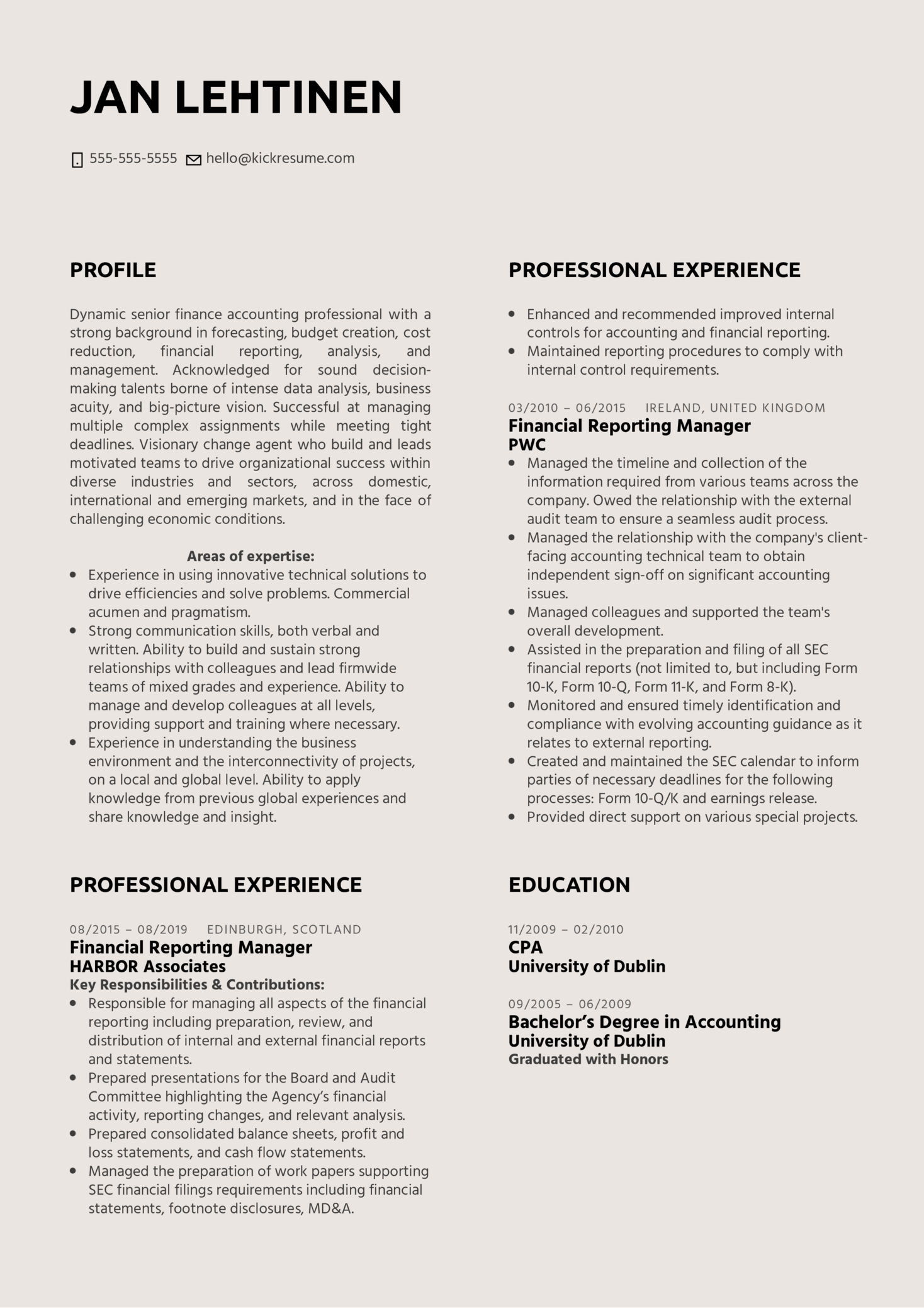 Financial Reporting Manager Resume Example (Parte 1)