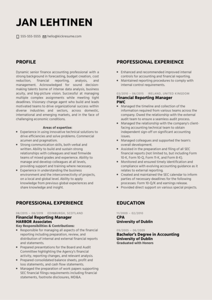 Financial Reporting Manager Resume Example