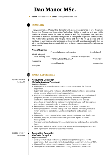 Accounting Controller Resume Sample
