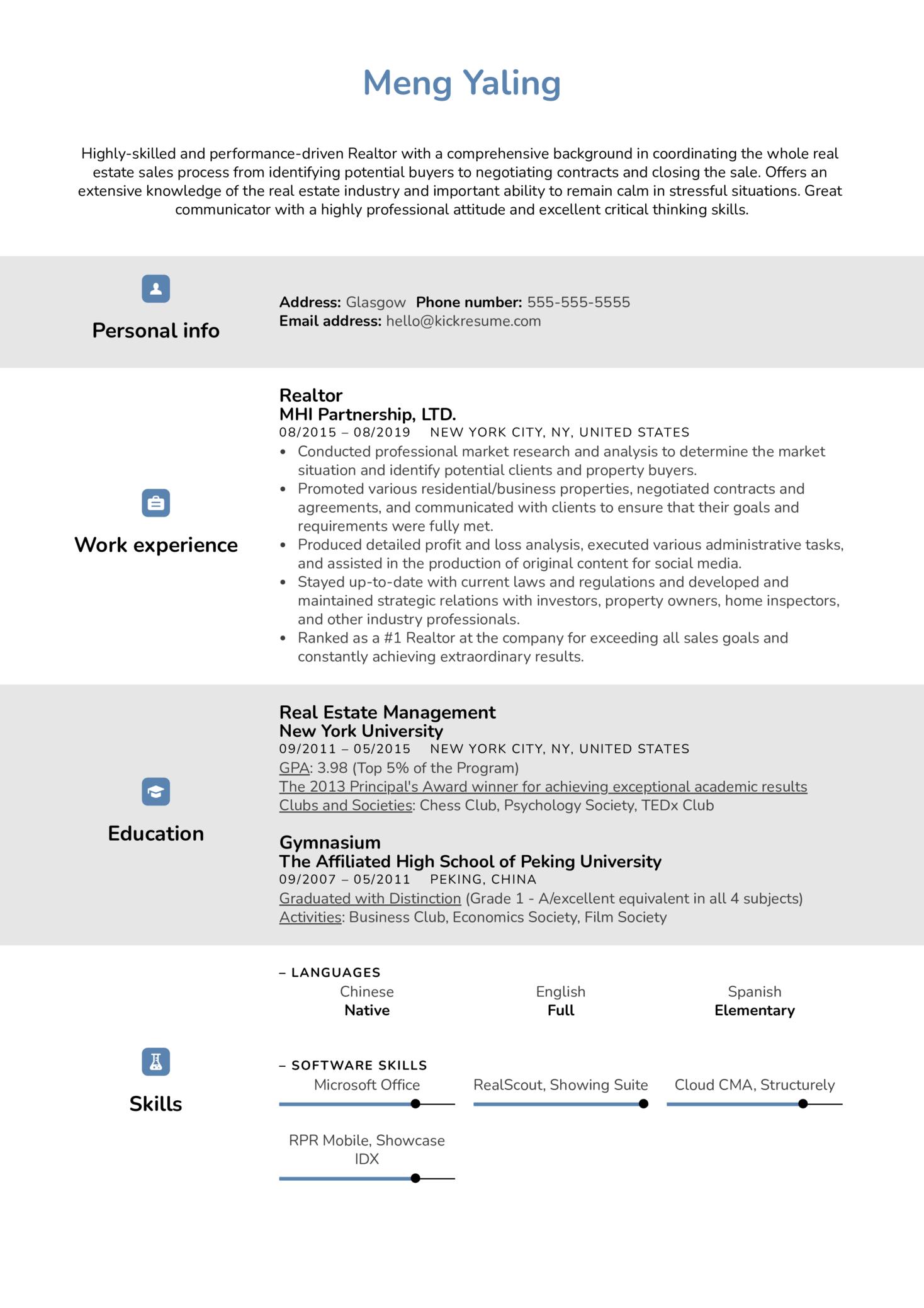 Realtor Resume Example (parte 1)