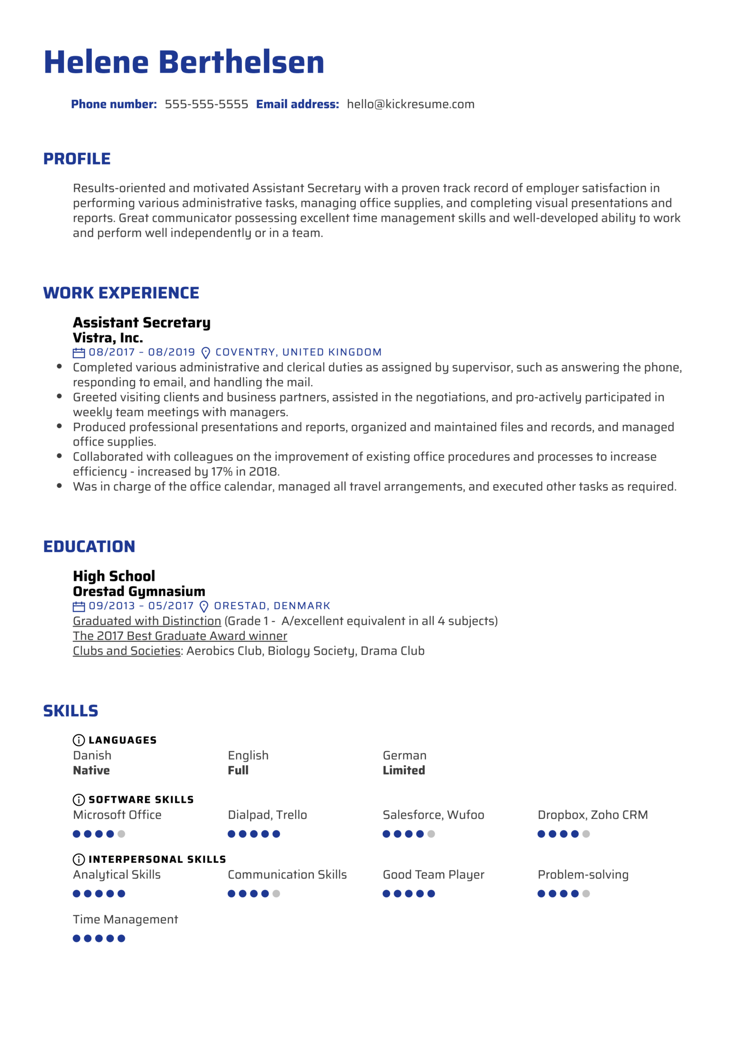 Assistant Secretary Resume Sample (Part 1)