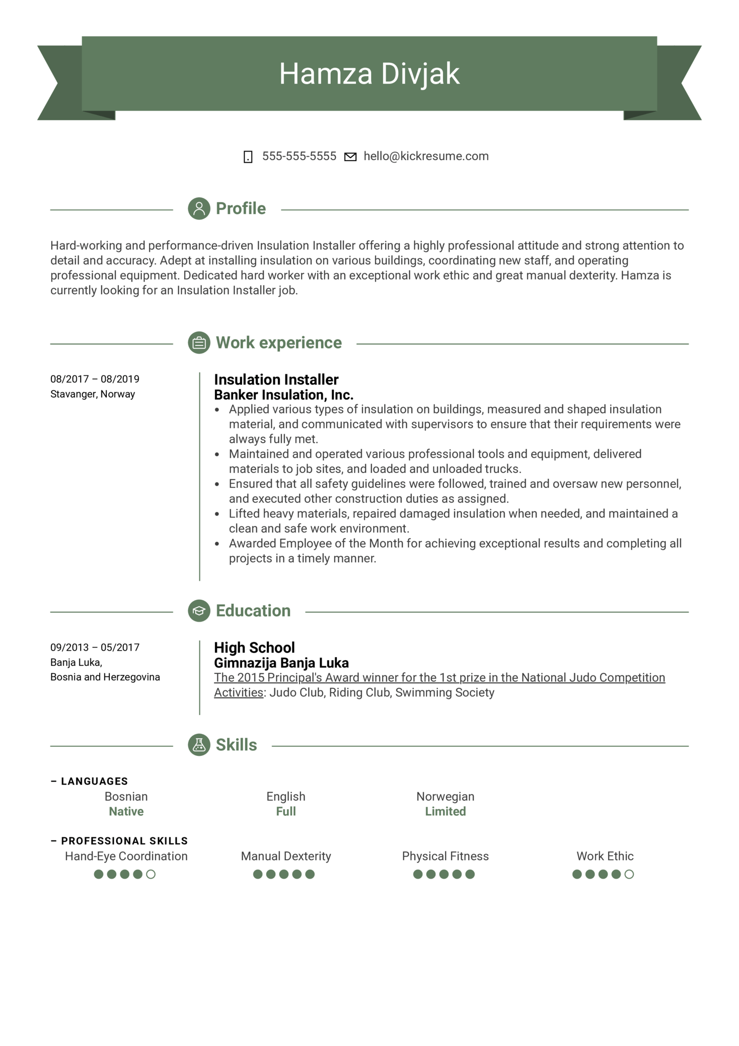 Insulation Installer Resume Example (parte 1)