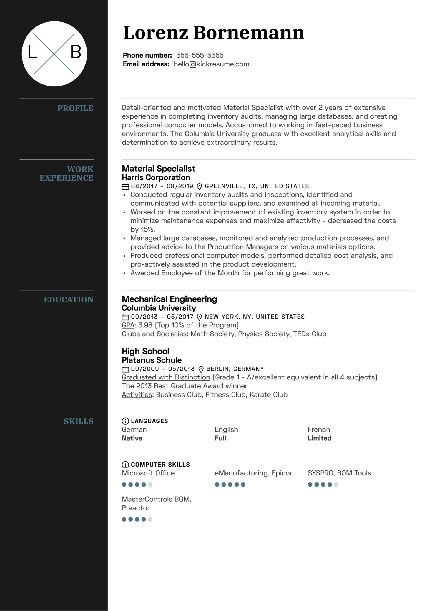 Material Specialist Resume Sample (časť 1)