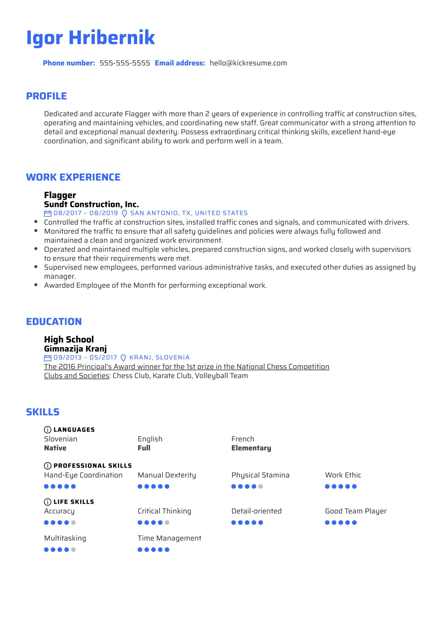 Flagger Resume Example (časť 1)