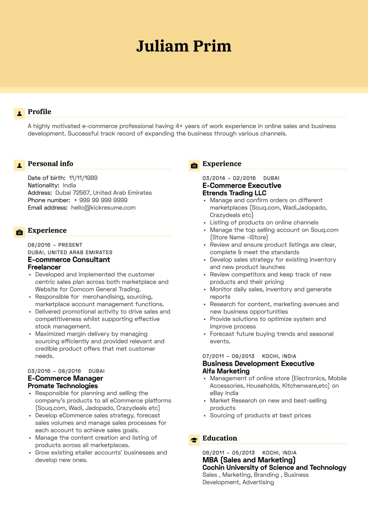Yamaha E-commerce Executive Resume Example (Parte 1)