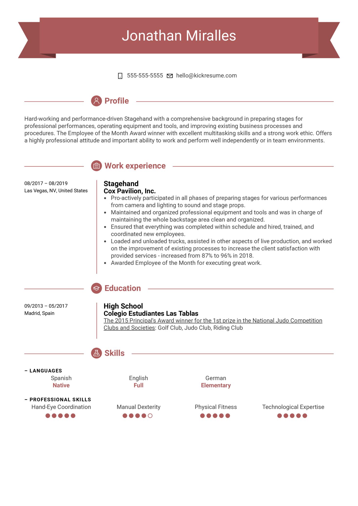 Stagehand Resume Example (parte 1)