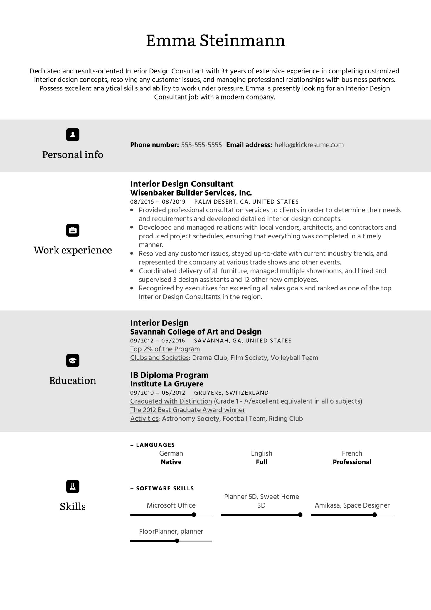 Interior Design Consultant Resume Sample (parte 1)