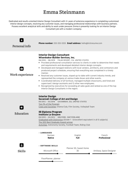 Interior Design Consultant Resume Sample