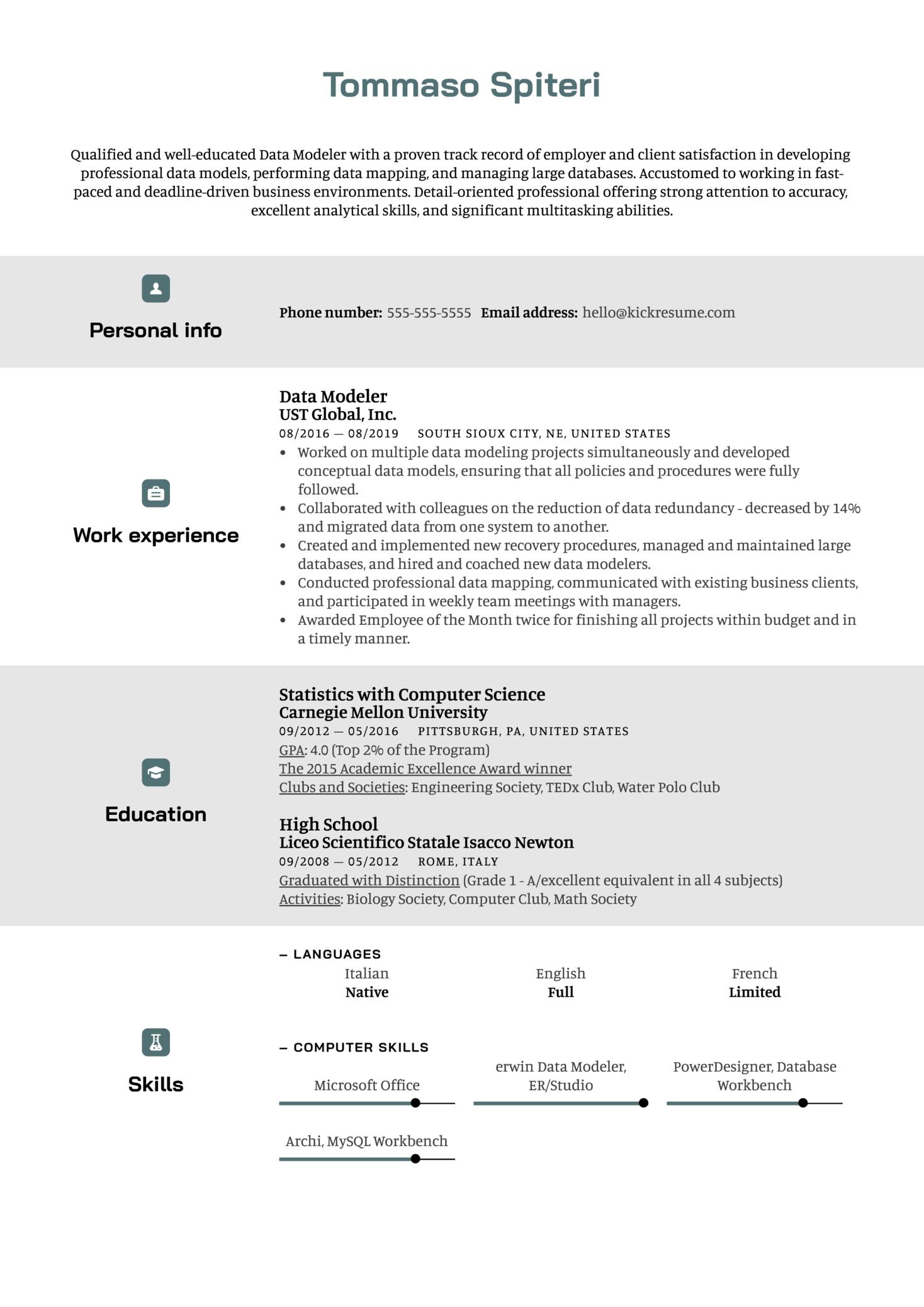 Data Modeler Resume Sample (Parte 1)