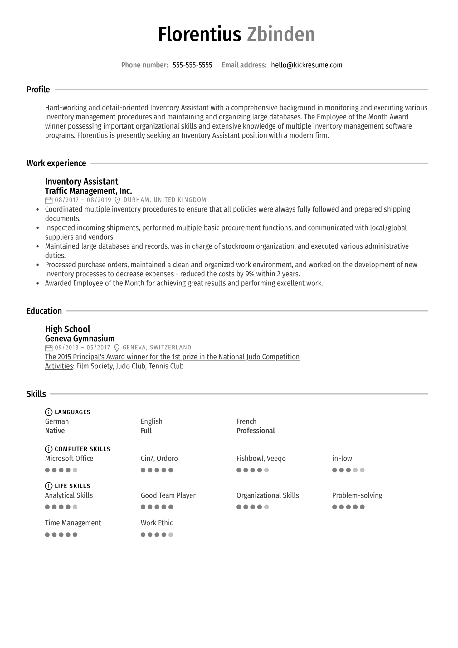 Inventory Assistant Resume Sample (parte 1)
