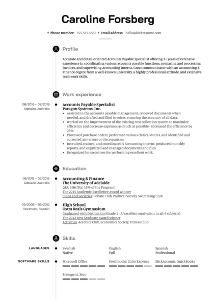 Accounts Payable Specialist Resume Example