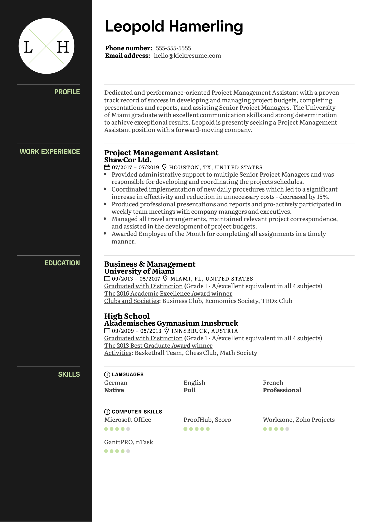 Project Management Assistant Resume Sample (Part 1)