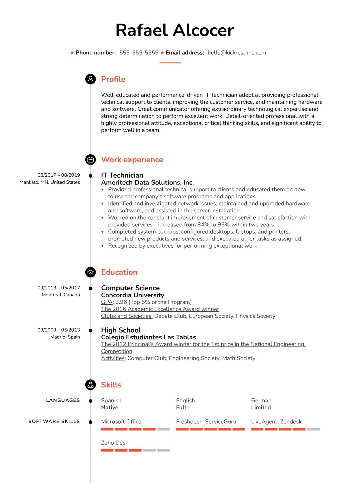 IT Technician Resume Sample (parte 1)