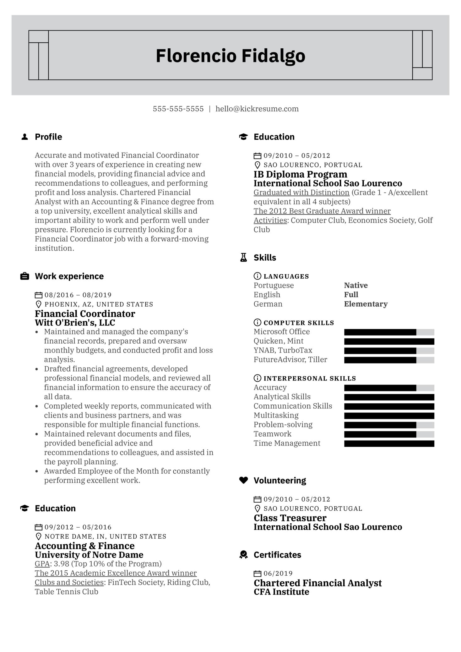 Financial Coordinator Resume Example (Teil 1)
