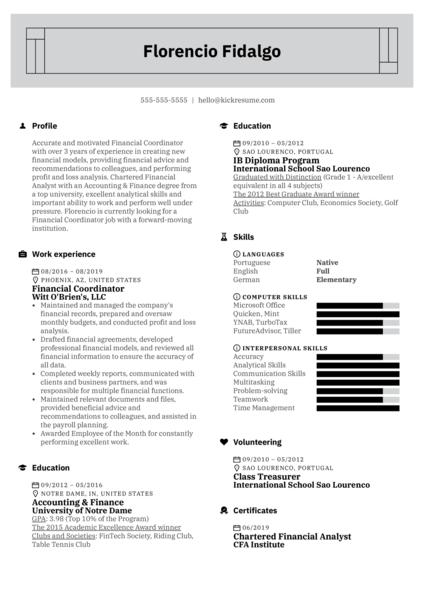 Financial Coordinator Resume Example