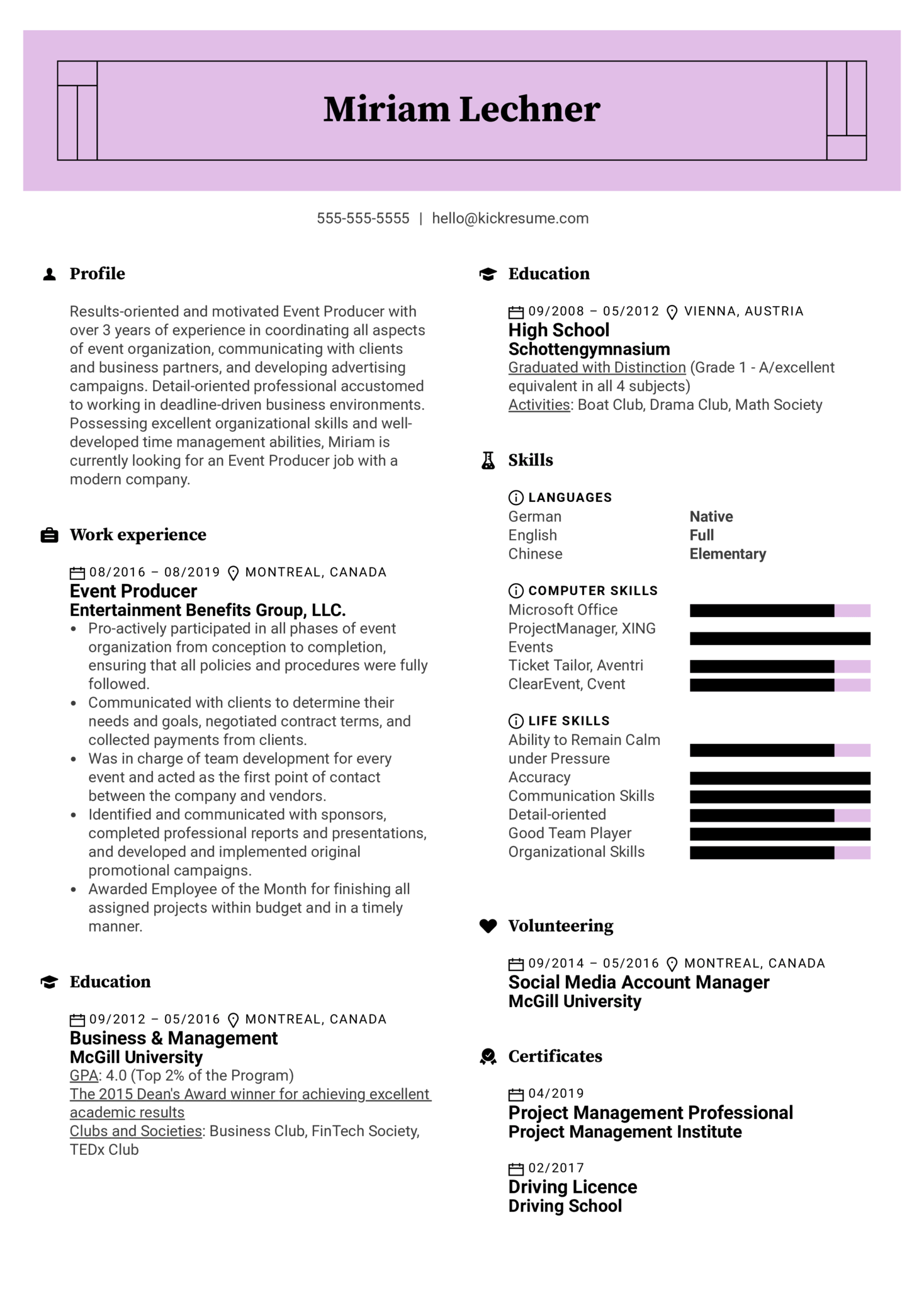 Event Producer Resume Example (parte 1)