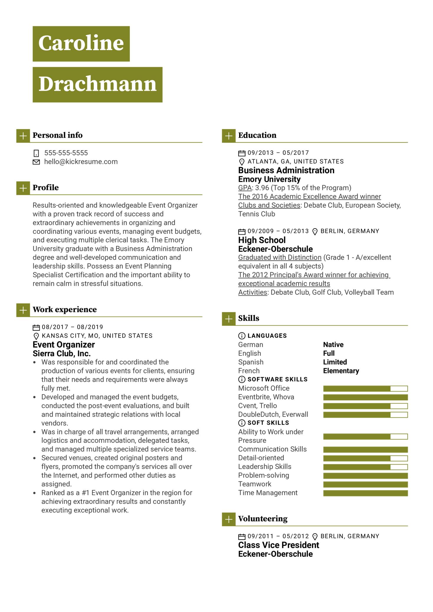 Event Organizer Resume Example (parte 1)
