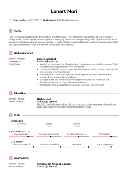 Bakery Assistant Resume Example