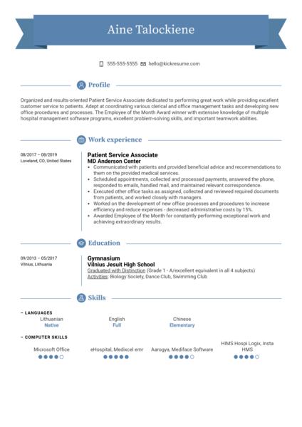 Patient Service Associate Resume Sample