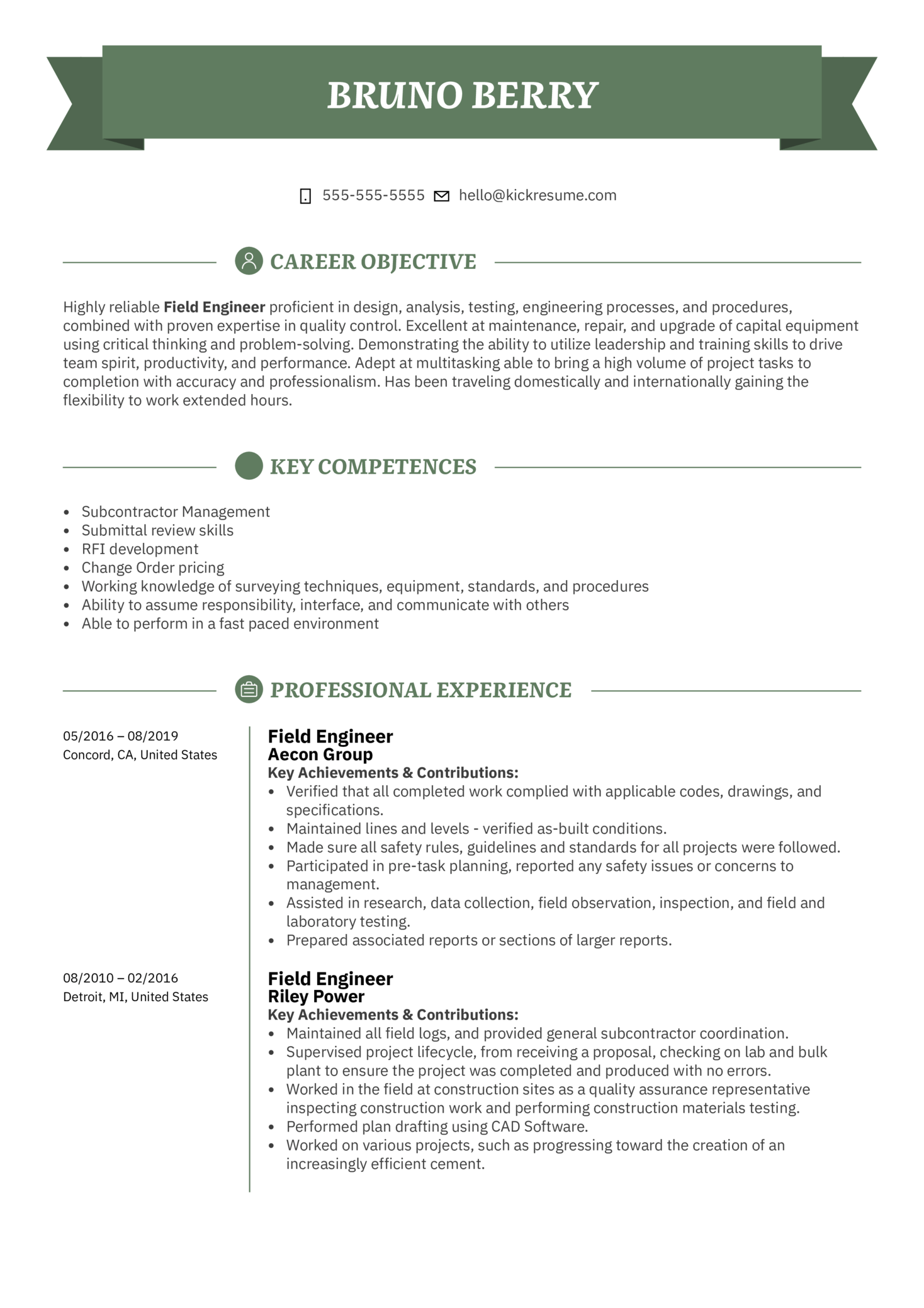 Field Engineer Resume Example (časť 1)