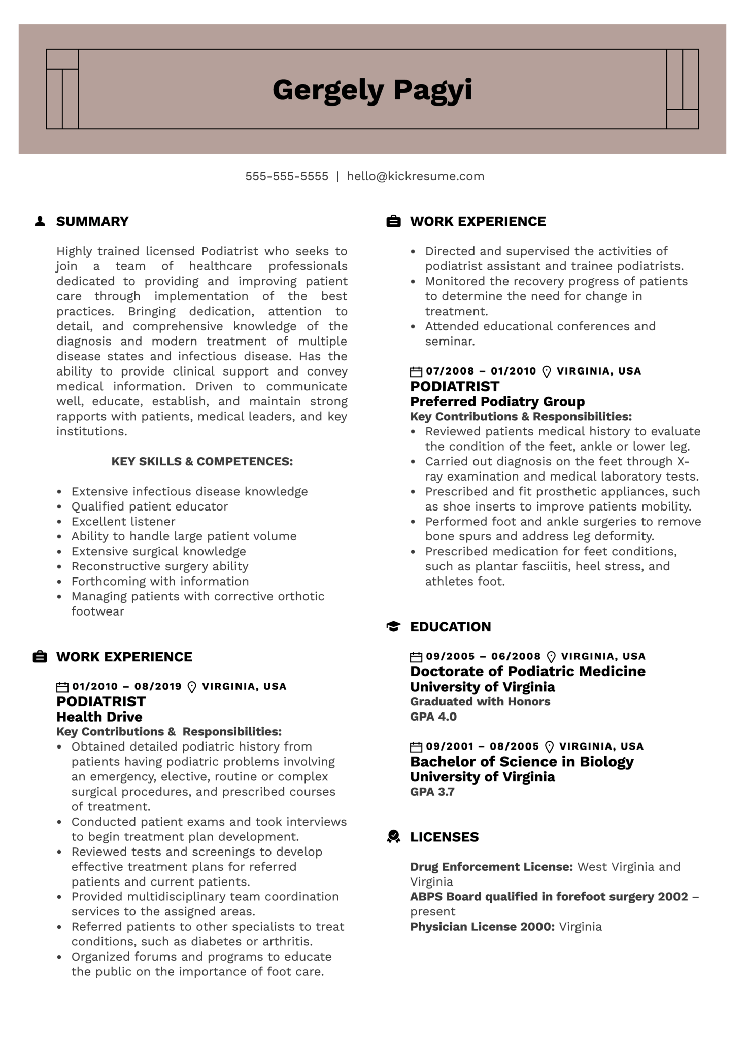 Podiatrist Resume Sample (Part 1)
