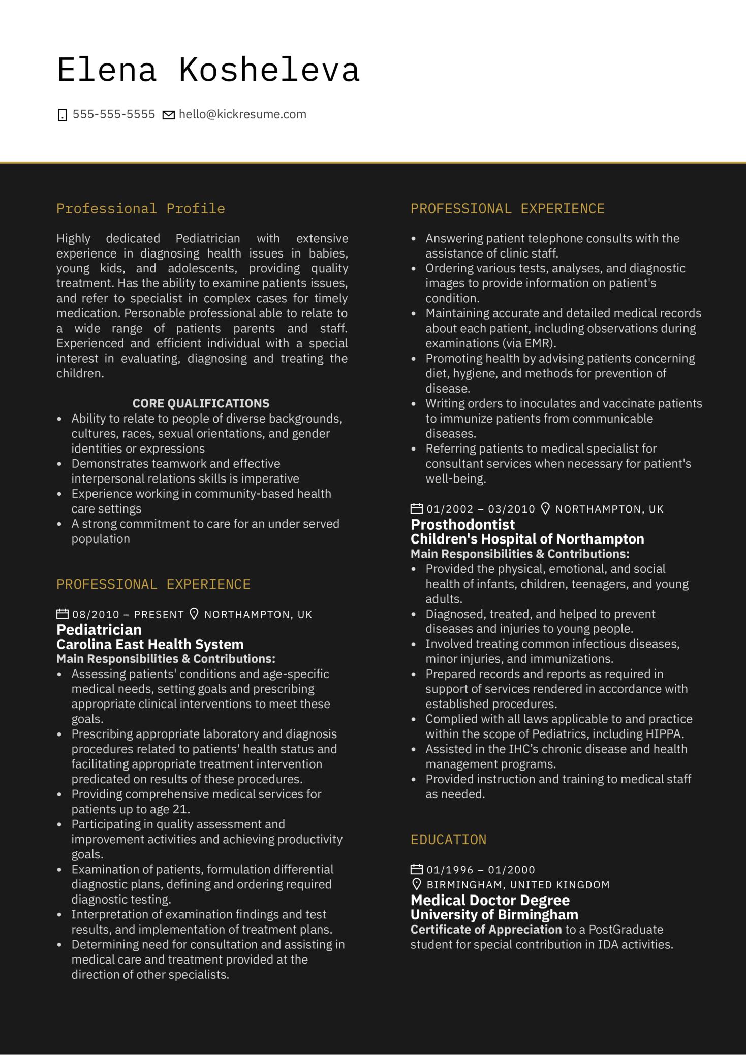 Pediatrician Resume Example (Teil 1)