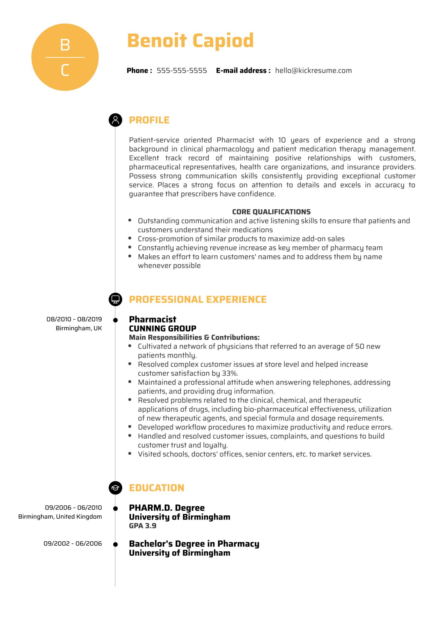 Pharmacist Resume Sample (parte 1)