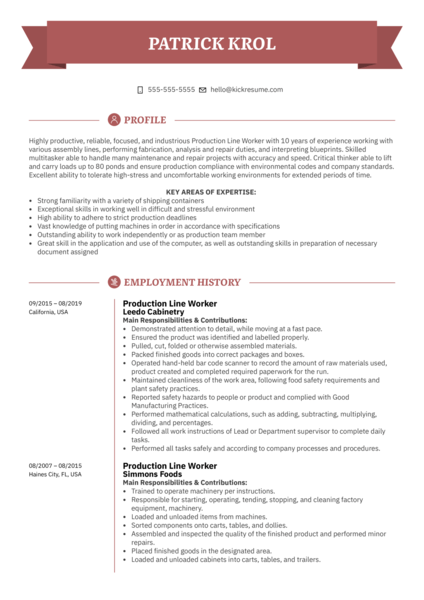 Production Line Worker Resume Example