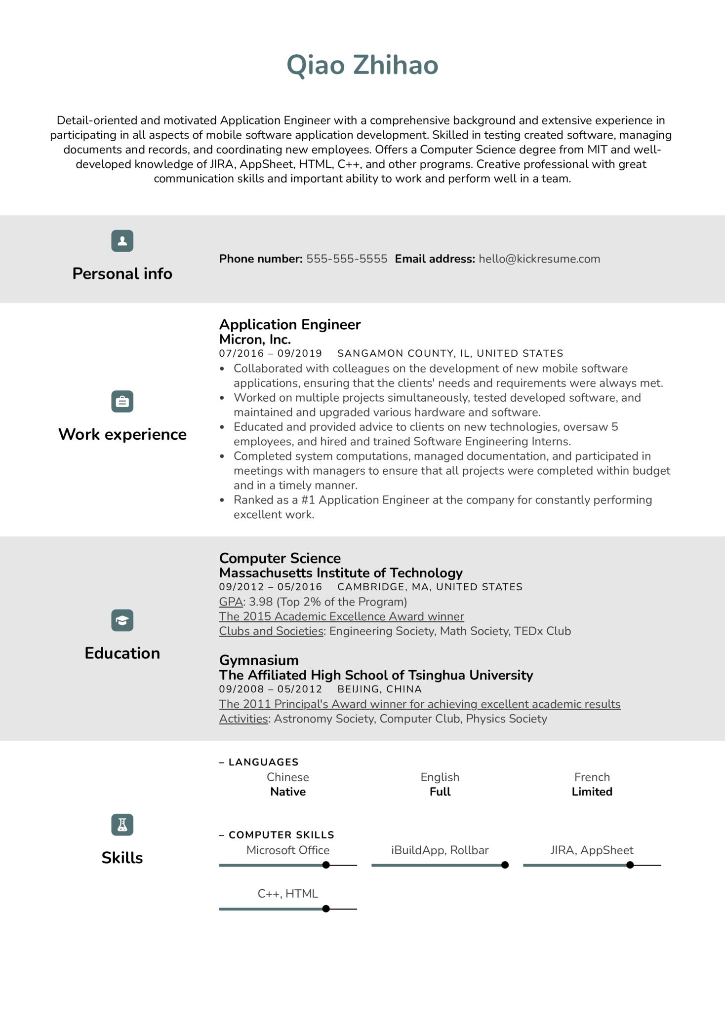 Application Engineer Resume Sample (parte 1)