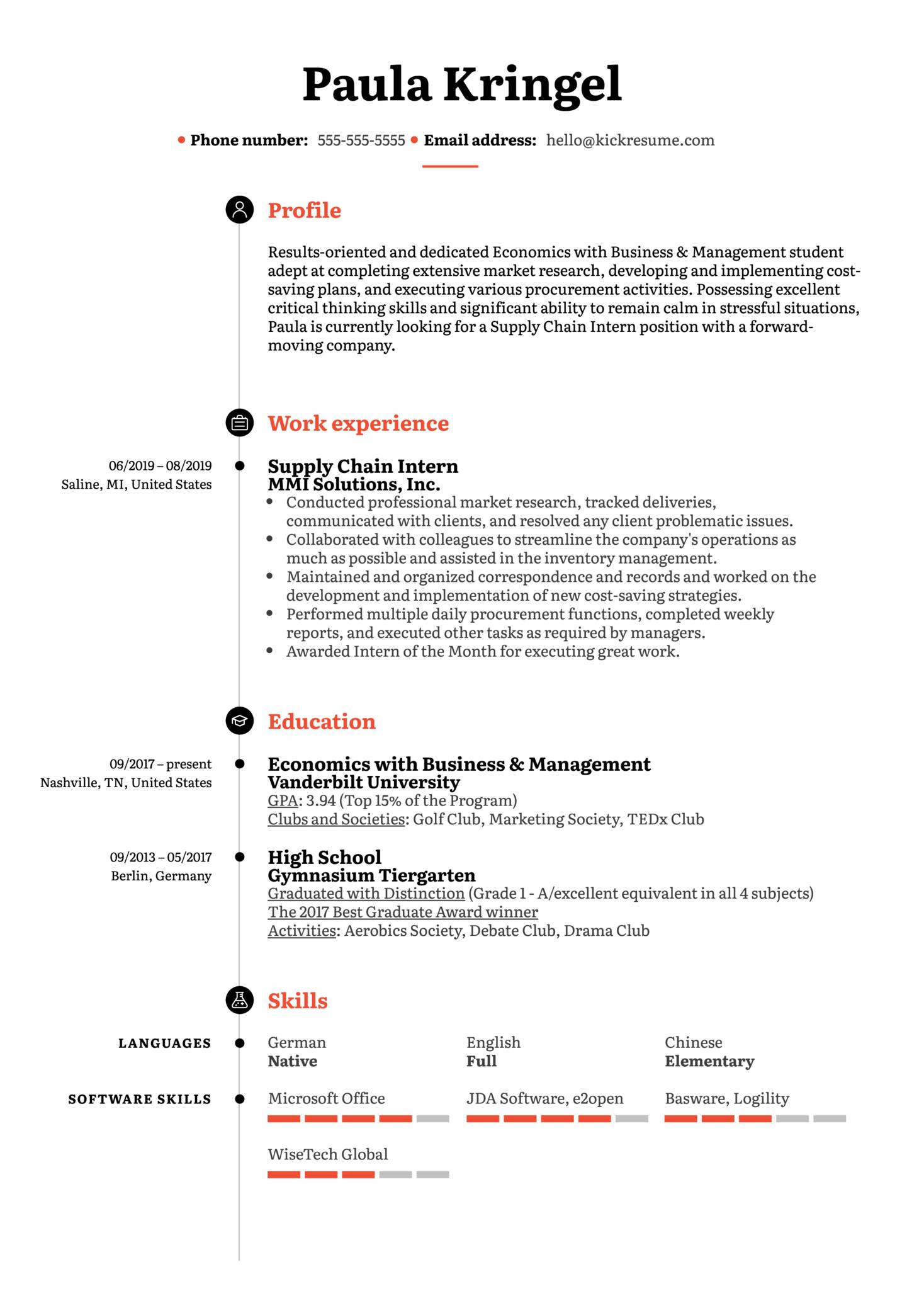 Supply Chain Intern Resume Sample (Part 1)