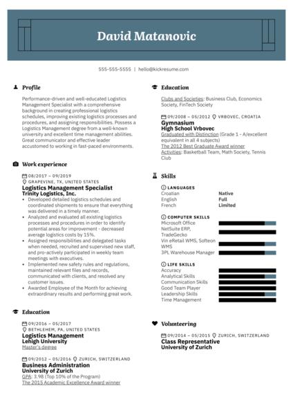 Logistics Management Specialist Resume Example