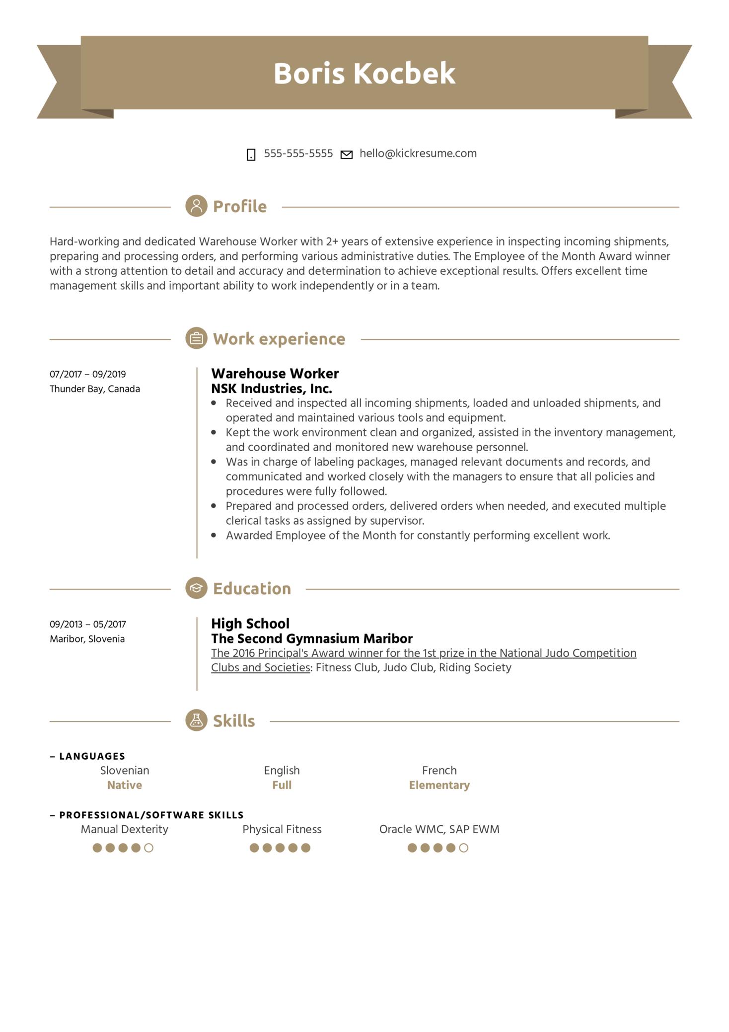Warehouse Worker Resume Example (časť 1)